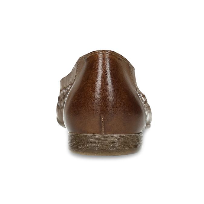 Dámské hnědé kožené mokasíny s propletením bata, hnědá, 524-4607 - 15