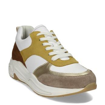 Dámské žluté tenisky městského stylu kožené bata, žlutá, 544-8602 - 13
