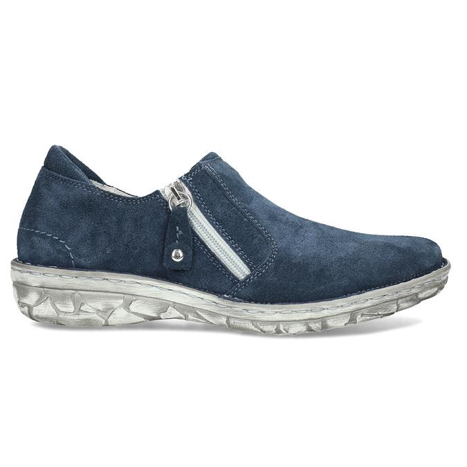 Dámské kožené slip-on tenisky se zipem bata, modrá, 523-9625 - 19