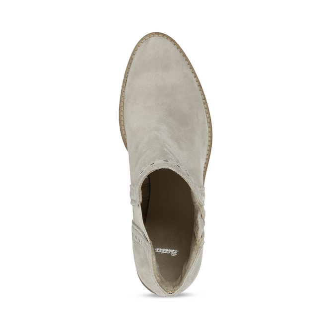 Kotníčkové šedé kozačky z broušené kůže bata, šedá, 593-8605 - 17