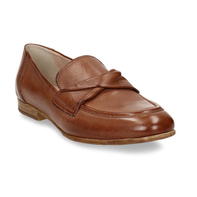 Dámské kožené hnědé mokasíny bata, hnědá, 516-4606 - 13