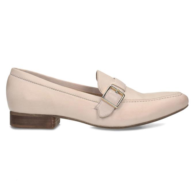 Dámské kožené béžové mokasíny se sponou bata, růžová, 514-5605 - 19