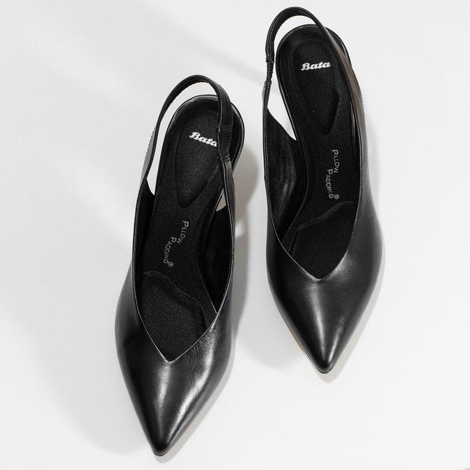 Černé kožené lodičky na jehlovém podpatku pillow-padding, černá, 624-6621 - 16