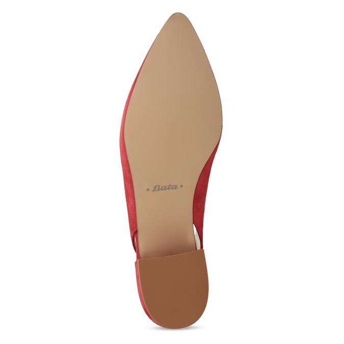 Kožené červené lodičky na nízkém podpatku s páskem bata, červená, 523-5607 - 18