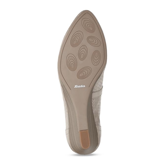 Dámské kožené béžové lodičky na klínku bata, šedá, 626-2602 - 18