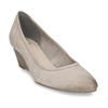 Dámské kožené béžové lodičky na klínku bata, šedá, 626-2602 - 13