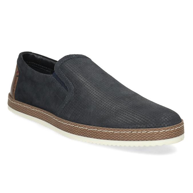 Modrá pánská kožená Slip-on obuv bata, modrá, 833-9608 - 13