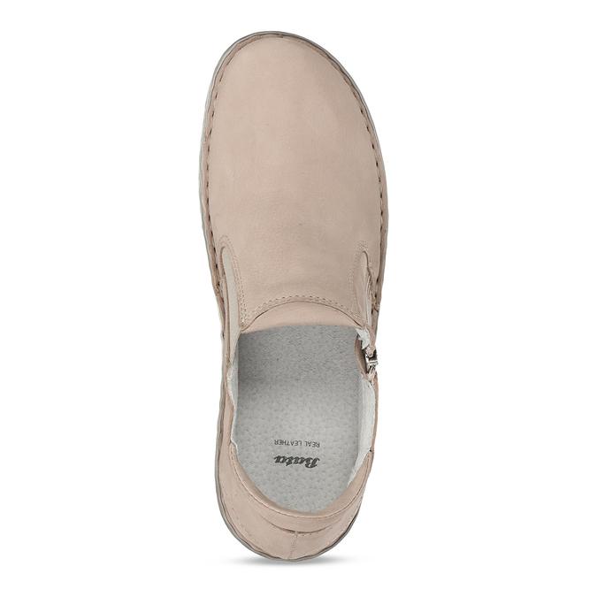 Dámská kožená béžová slip-on obuv bata, béžová, 526-8626 - 17