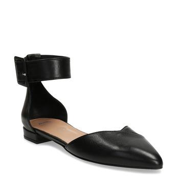 Černé kožené baleríny s páskem bata, černá, 524-6624 - 13