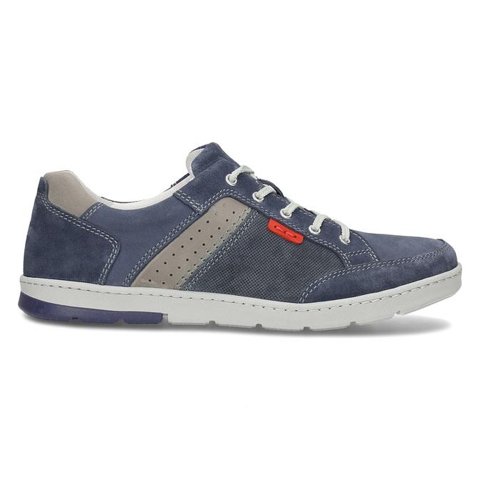 Modré kožené tenisky s prošitím bata, modrá, 846-9603 - 19