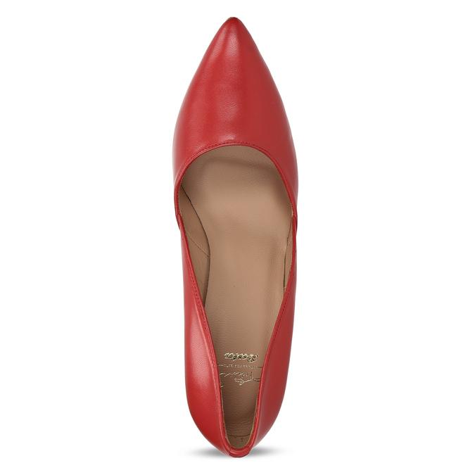 Červené kožené lodičky na jehlovém podpatku bata, červená, 724-5606 - 17