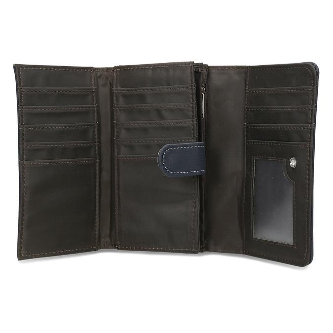 Dámská tmavě modrá peněženka s bílým prošitím bata, modrá, 941-9636 - 15