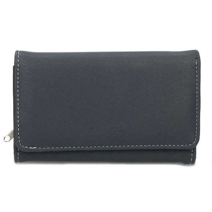 Dámská tmavě modrá peněženka s bílým prošitím bata, modrá, 941-9636 - 26