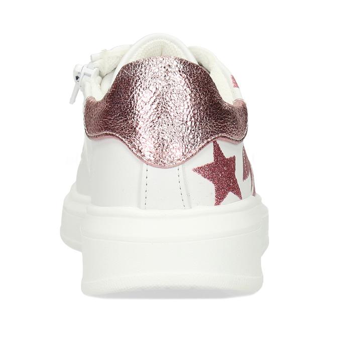 Bílé dívčí tenisky s růžovými hvězdami mini-b, bílá, 321-1646 - 15