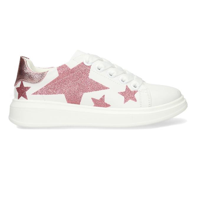 Bílé dívčí tenisky s růžovými hvězdami mini-b, bílá, 321-1646 - 19