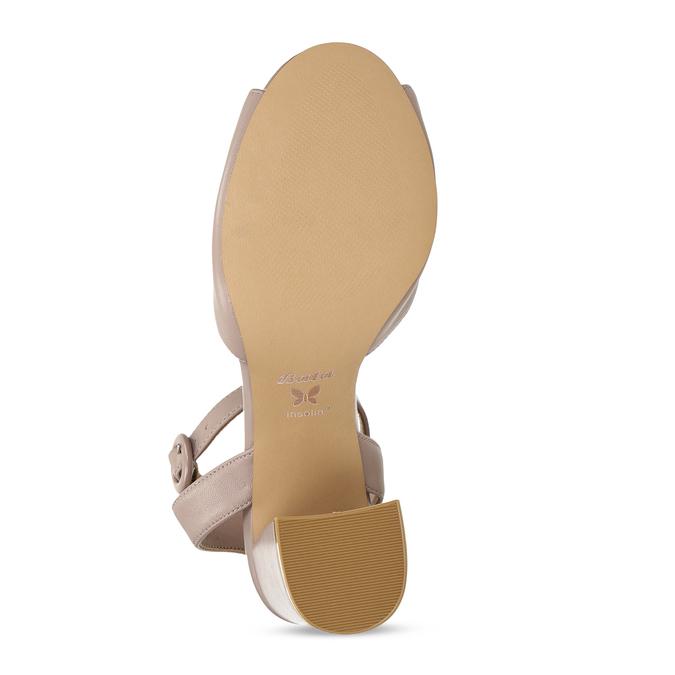 Béžové kožené dámské sandály na širokém podpatku insolia, béžová, 764-4602 - 18