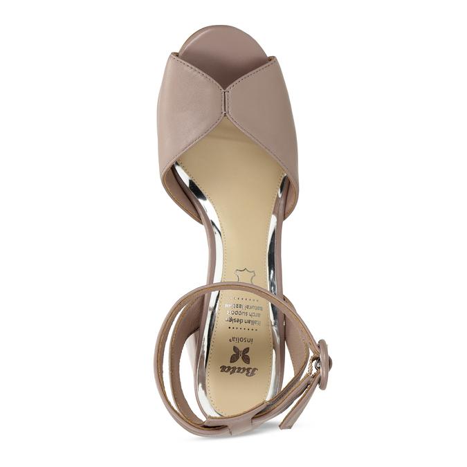 Béžové kožené dámské sandály na širokém podpatku insolia, béžová, 764-4602 - 17