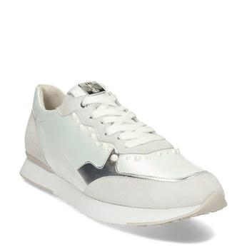 Bílo-stříbrné dámské kožené tenisky s perlami hogl, bílá, 546-1102 - 13