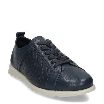 Tmavě modré dámské kožené ležérní tenisky comfit, modrá, 524-9602 - 13