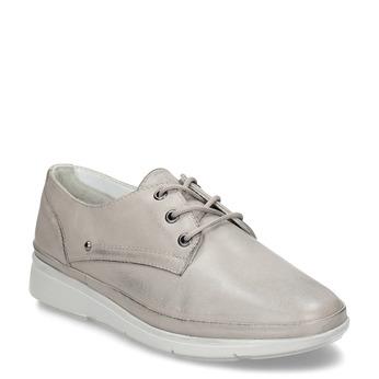 Béžové dámské kožené polobotky bata, béžová, 524-2609 - 13