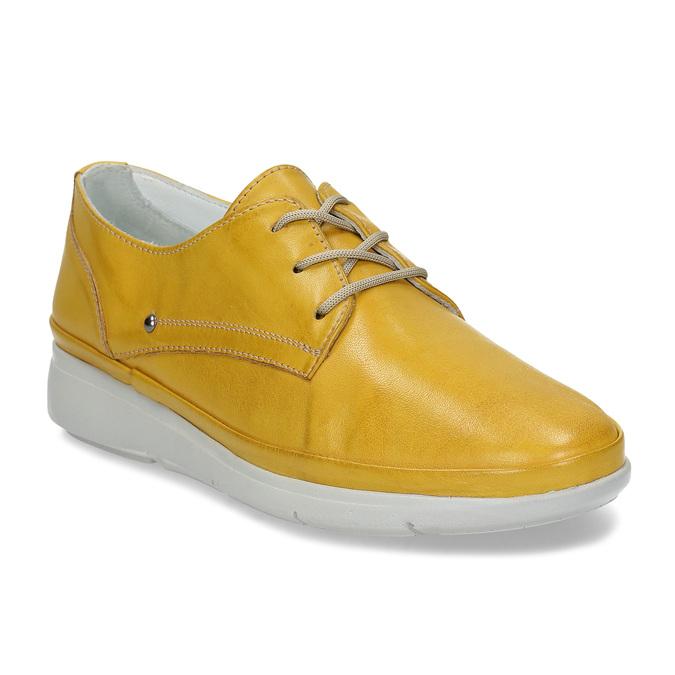 Žluté dámské kožené polobotky bata, žlutá, 524-8609 - 13