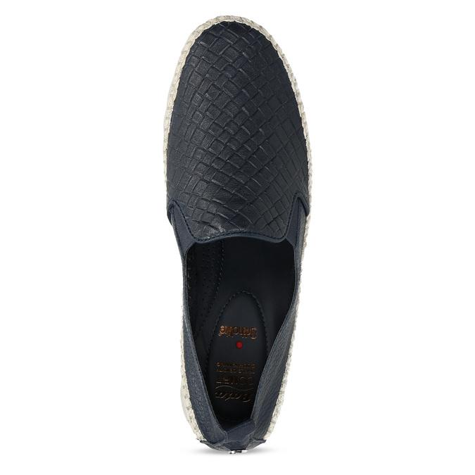 Tmavě modrá kožená dámská slip-on obuv comfit, modrá, 524-9604 - 17