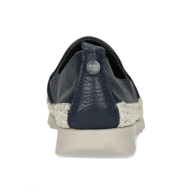 Tmavě modrá kožená dámská slip-on obuv comfit, modrá, 524-9604 - 15