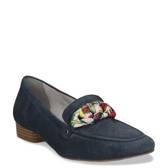 Dámské mokasíny z broušené kůže se stuhou bata, modrá, 513-9602 - 13