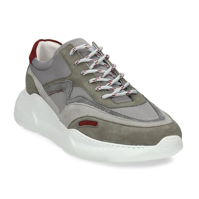 Kožené šedé Chunky tenisky s červenými detaily bata, šedá, 846-2670 - 13