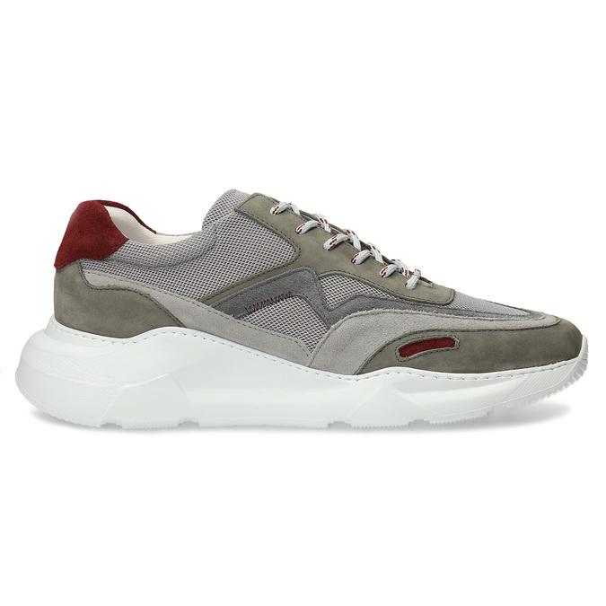 Kožené šedé Chunky tenisky s červenými detaily bata, šedá, 846-2670 - 19