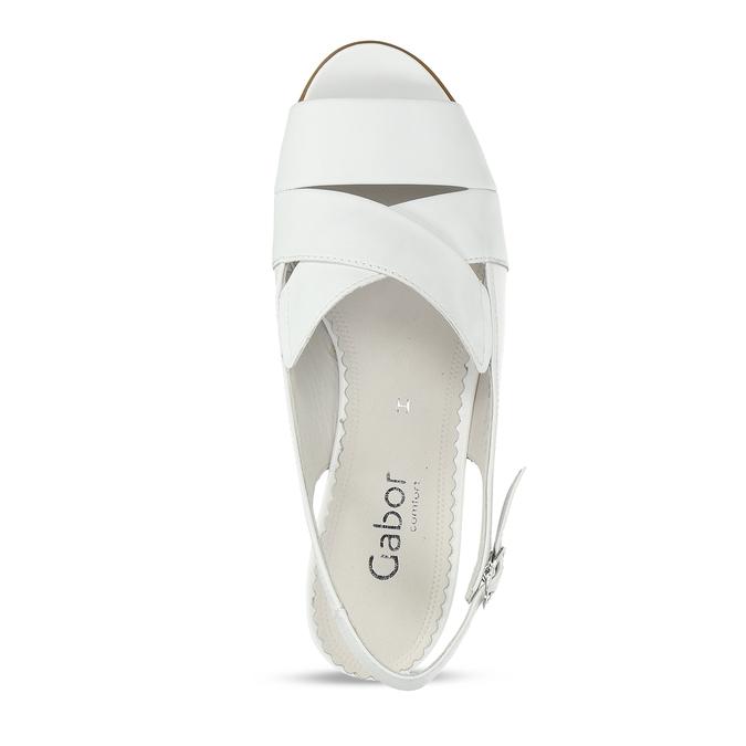 Bílé kožené dámské sandály pro širší chodidla gabor, bílá, 664-1104 - 17