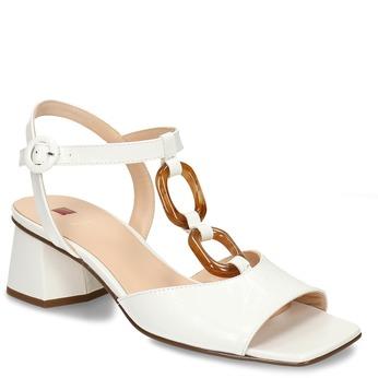 Kožené sandály v bílé barvě na stabilním podpatku hogl, bílá, 664-1101 - 13