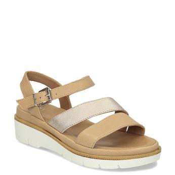 Béžové dámské kožené sandály na platformě bata, béžová, 564-8603 - 13