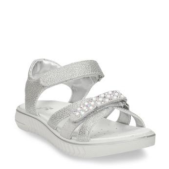 Stříbrné dětské sandály s kamínky mini-b, stříbrná, 461-1642 - 13