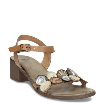 Světle hnědé dámské kožené sandály bata, hnědá, 664-4615 - 13