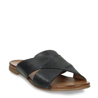 Kožené dámské nazouváky s překříženými pásky bata, černá, 564-9601 - 13