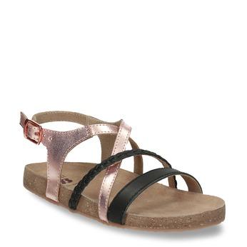 Rose gold sandály s černými pásky mini-b, černá, 266-6605 - 13