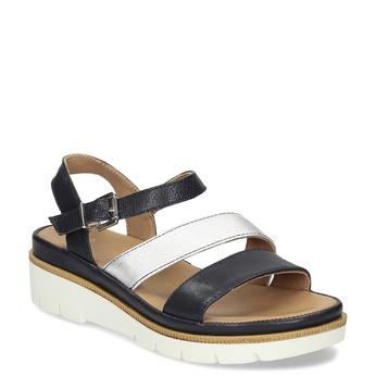 Dámské kožené sandály na platformě bata, modrá, 564-9603 - 13
