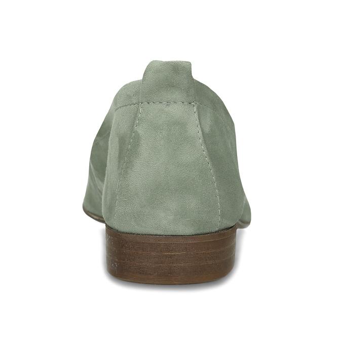 Dámské kožené světle zelené mokasíny bata, zelená, 516-7604 - 15