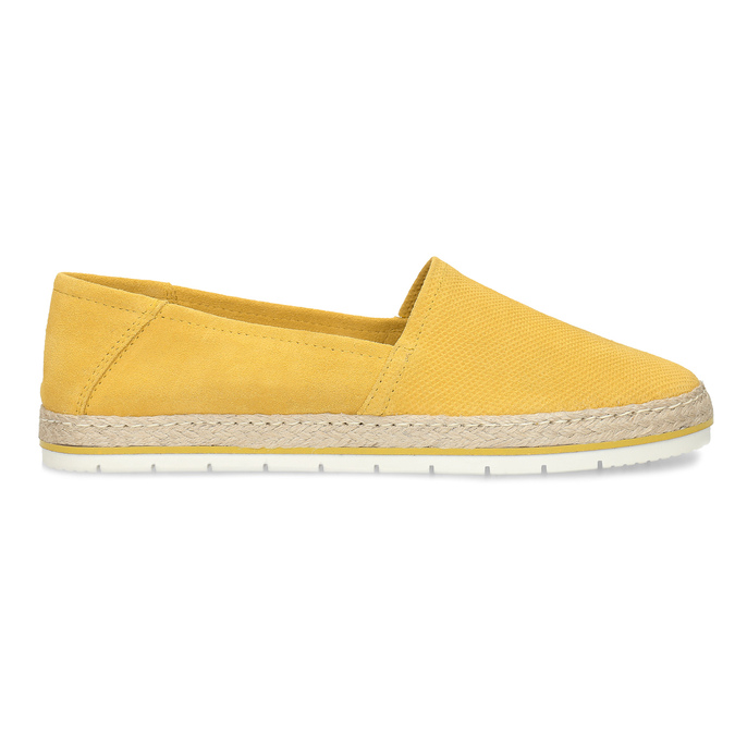 Žluté dámské espadrilky z broušené kůže bata, žlutá, 533-8616 - 19