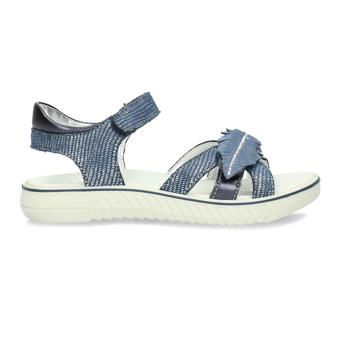 Modré dívčí sandály s pírkem na špičce mini-b, modrá, 261-9601 - 19