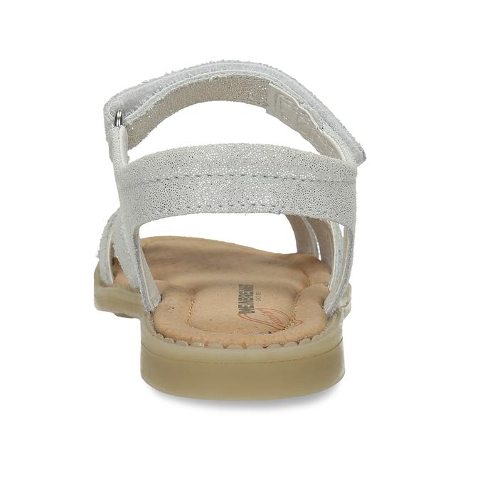 Dětské stříbrné kožené sandály mini-b, bílá, 364-1602 - 15