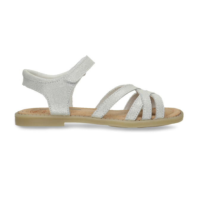 Dětské stříbrné kožené sandály mini-b, bílá, 364-1602 - 19