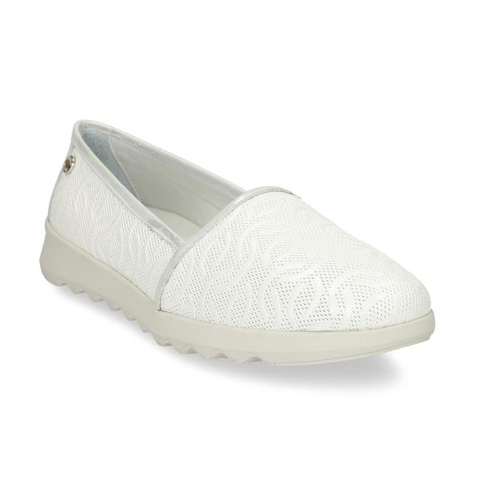Bílá dámská kožená slip-on obuv flexible, bílá, 524-1621 - 13
