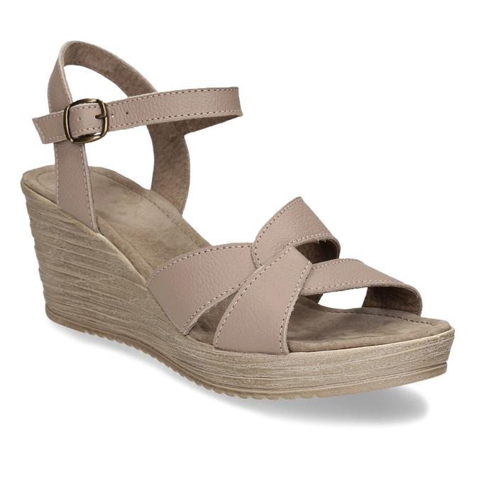 Dámské kožené sandály na klínovém podpatku bata, béžová, 664-8608 - 13