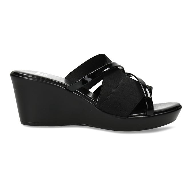 Černé dámské pantofle na platformě comfit, černá, 661-6626 - 19