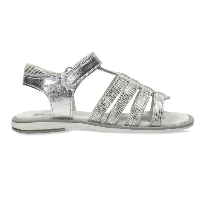 Stříbrné páskové sandály dívčí mini-b, stříbrná, 361-1615 - 19