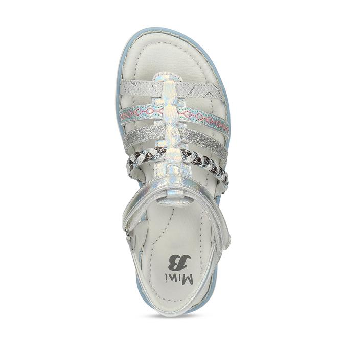 Kožené dívčí sandály kožené mini-b, stříbrná, 361-9616 - 17