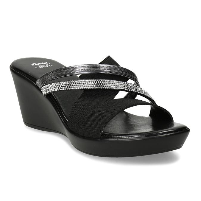 Dámské černé pantofle na platformě comfit, černá, 661-6630 - 13