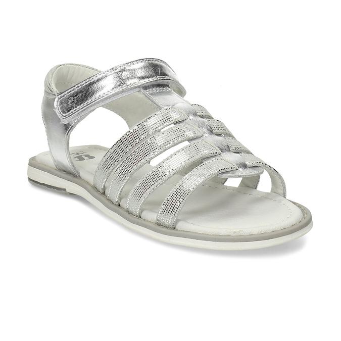 Stříbrné páskové sandály dívčí mini-b, stříbrná, 361-1615 - 13